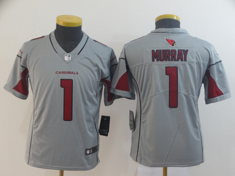 Nike Cardinals 1 Kyler Murray Silver Youth Inverted Legend Jersey
