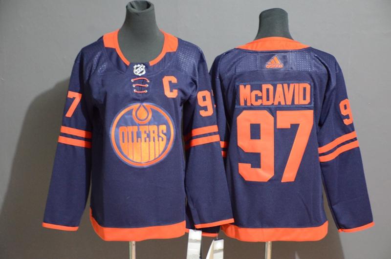 Oilers 29 Leon Draisaitl Navy Women 50th anniversary Adidas Jersey