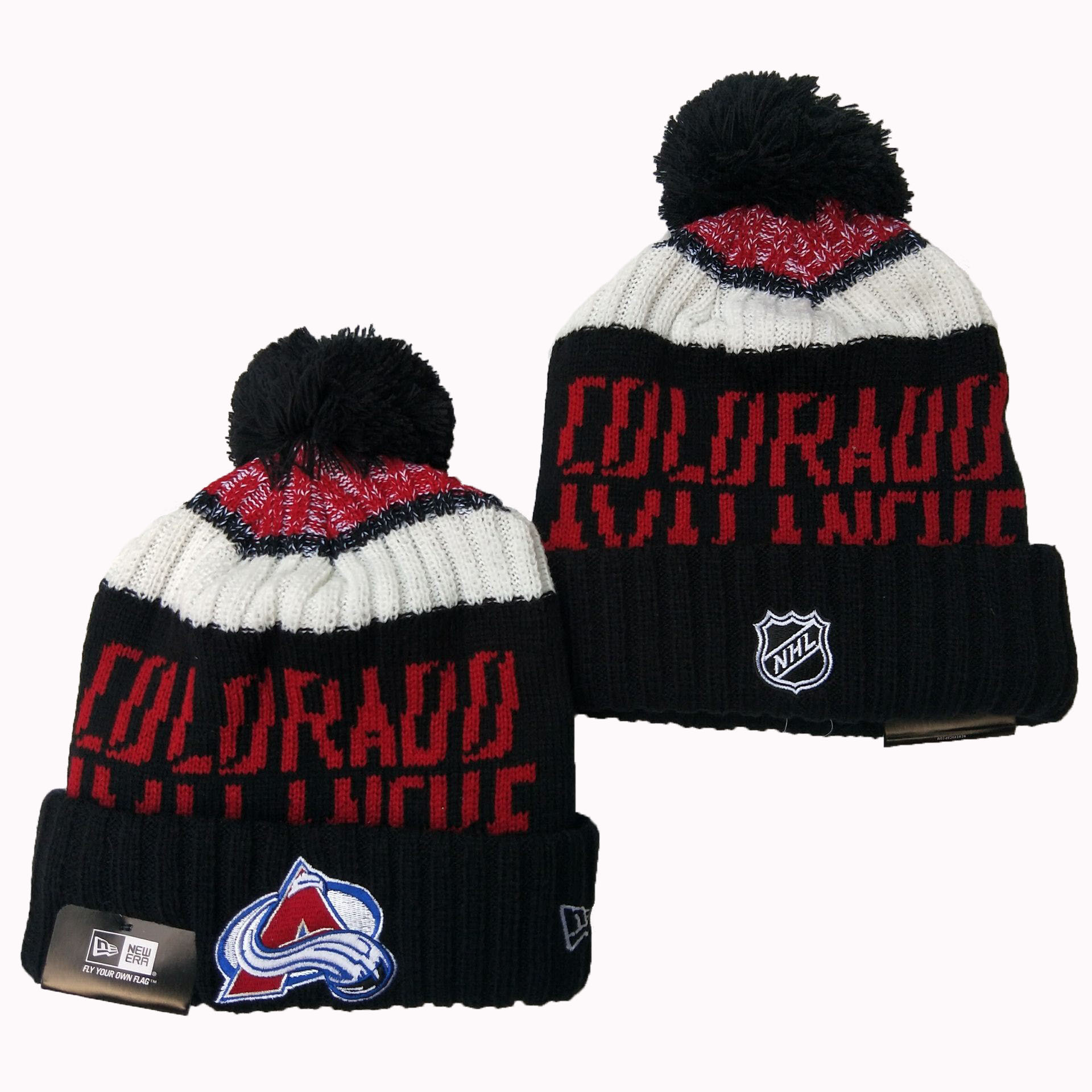 Avalanche Team Logo Black Pom Knit Hat YD