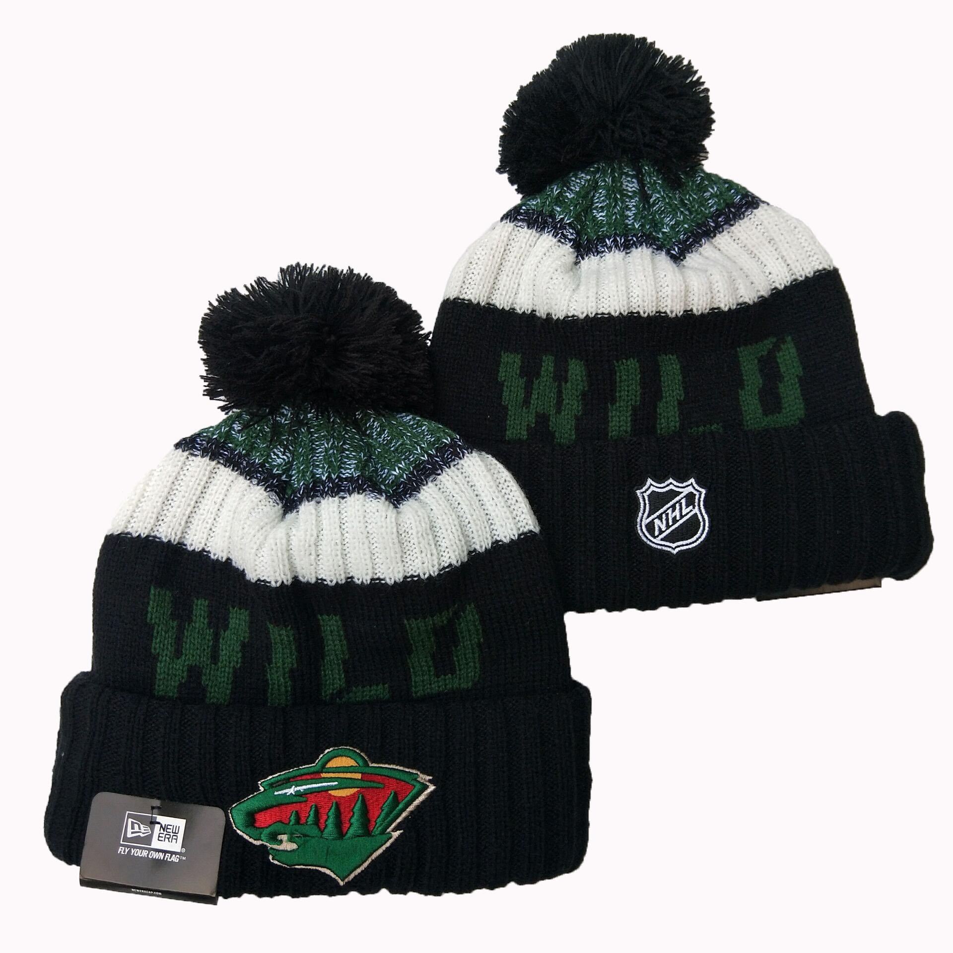 Wild Team Logo Black Pom Knit Hat YD