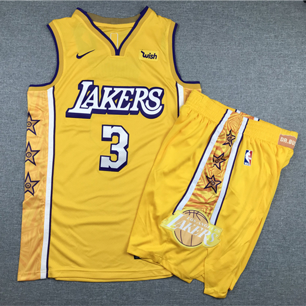 Lakers 23 Anthony Davis Yellow Nike Authentic Jersey(With Shorts)