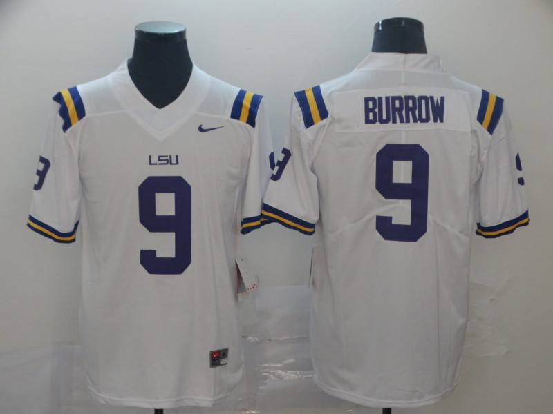LSU Tigers 9 Joe Burrow White Nike College Football Jersey