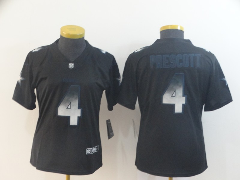 Nike Cowboys 4 Dak Prescott Black Arch Smoke Women Vapor Untouchable Limited Jersey