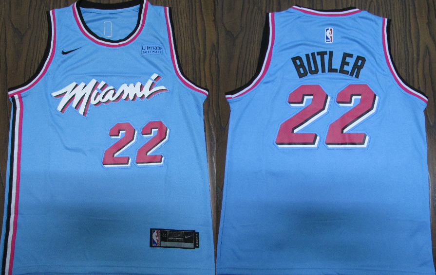 Heat 22 Jimmy Butler Blue 2019-20 Nike City Edition Swingman Jersey