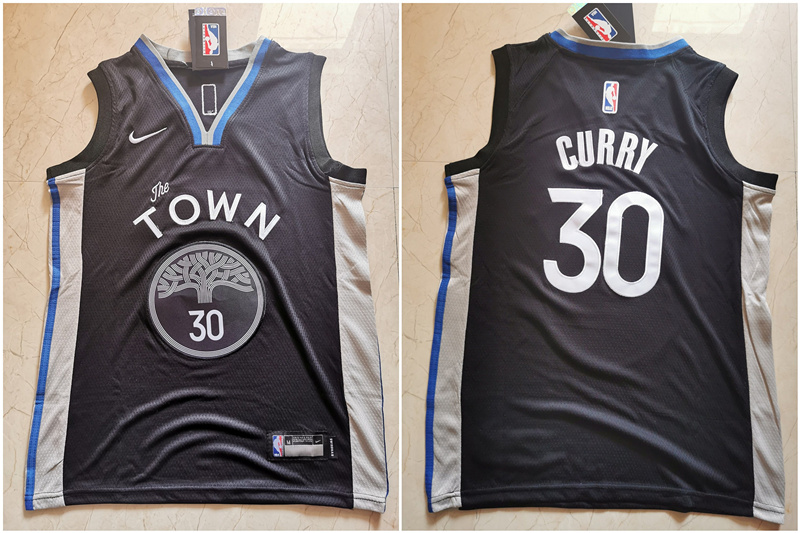 Warriors 30 Stephen Curry Black Youth 2019-20 City Edition Nike Swingman Jersey