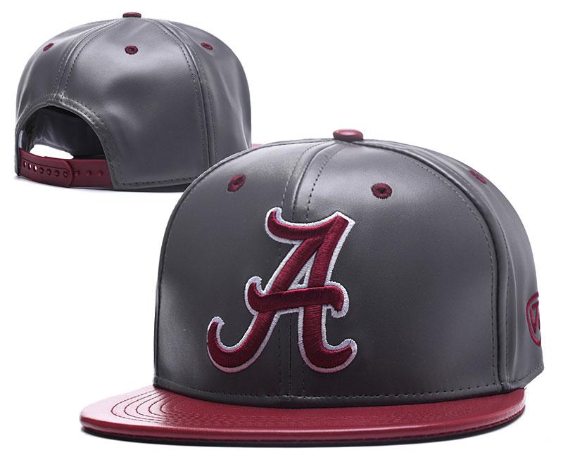Alabama Crimson Tide Team Logo Gray Leather Adjustable Hat GS