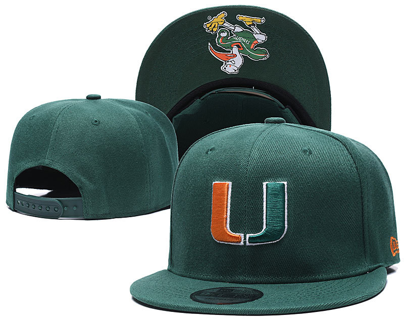 Miami Hurricanes Team Logo Green Adjustable Hat GS