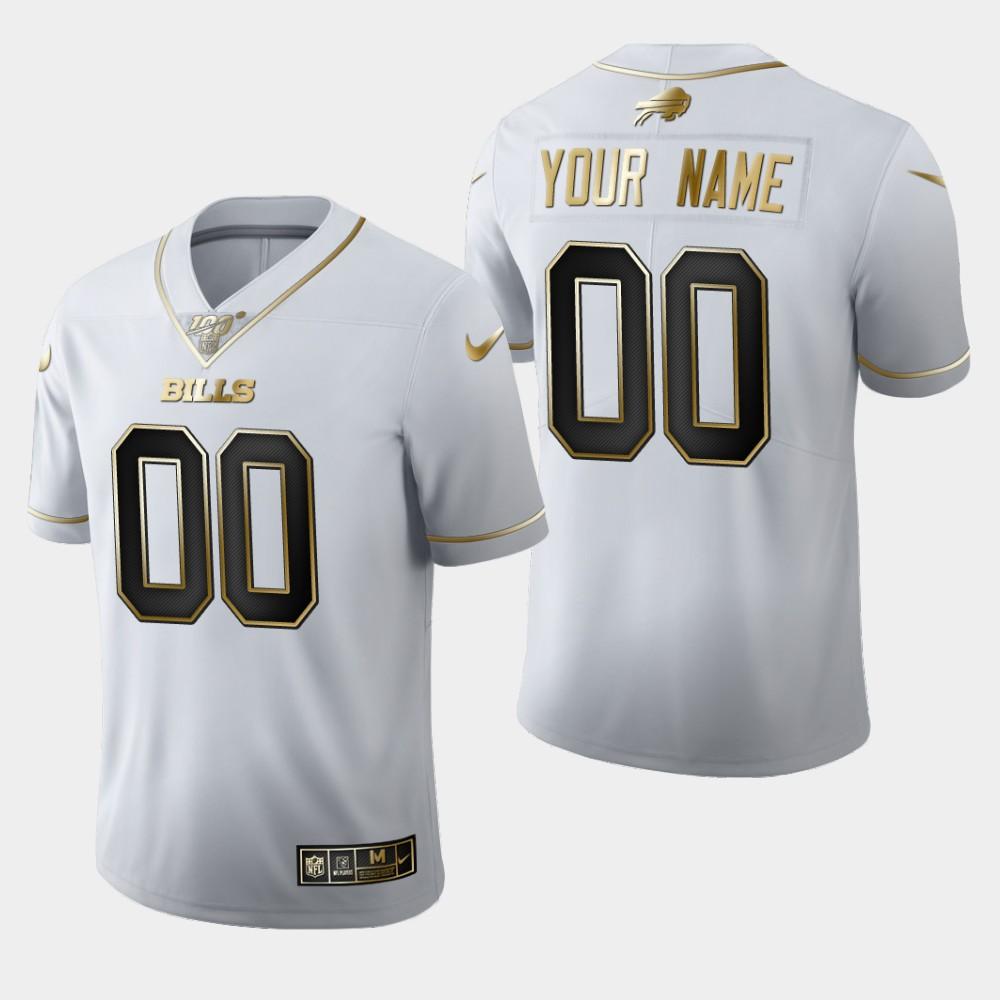 Nike Bills Customized White 100th Season Vapor Untouchable Limited Jersey