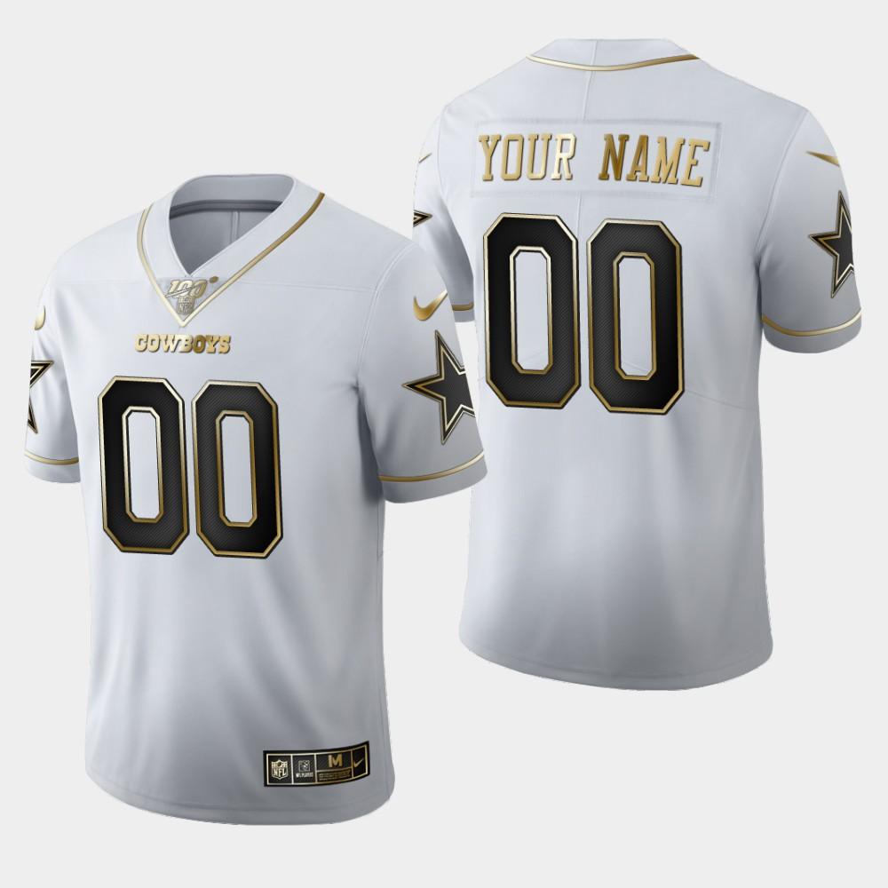 Nike Cowboys Customized White 100th Season Vapor Untouchable Limited Jersey