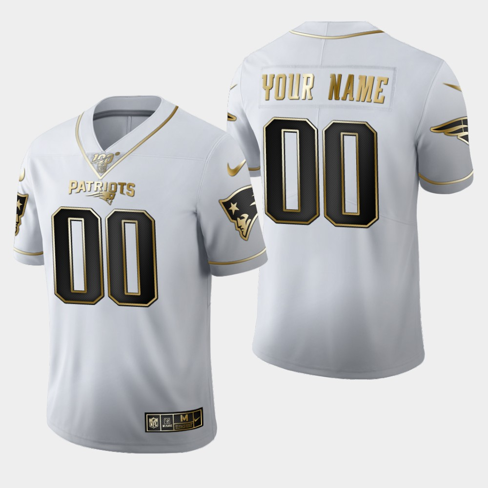 Nike Patriots Customized White 100th Season Vapor Untouchable Limited Jersey