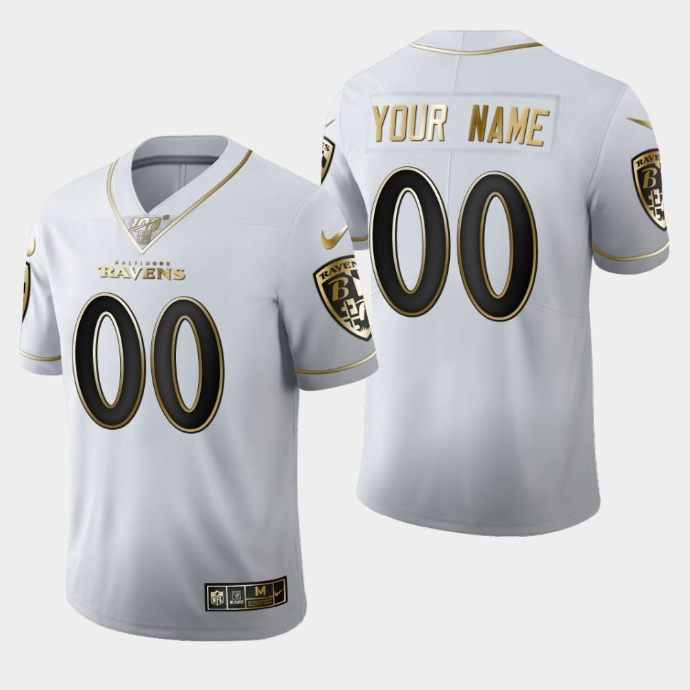 Nike Ravens Customized White 100th Season Vapor Untouchable Limited Jersey