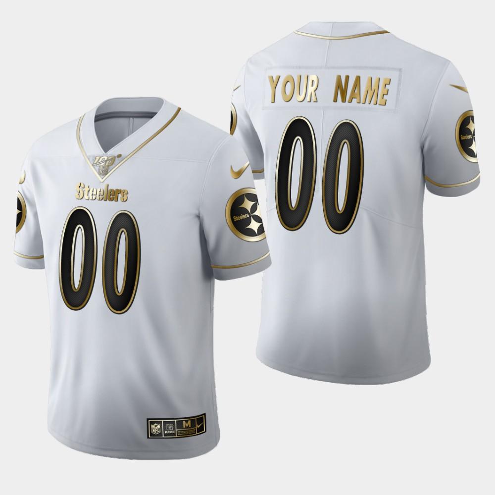 Nike Steelers Customized White 100th Season Vapor Untouchable Limited Jersey