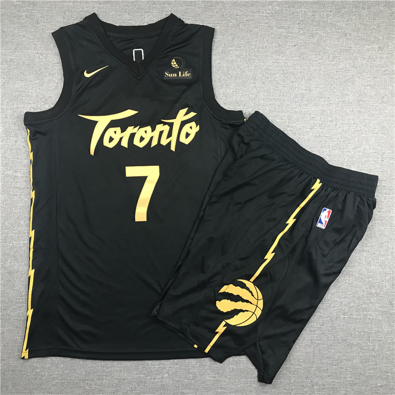 Raptors 7 Kyle Lowry Black City Edition Nike Swingman Jersey(With Shorts)
