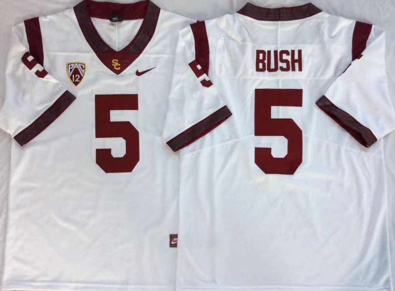 USC Trojans 5 Reggie Bush White College Football Jersey