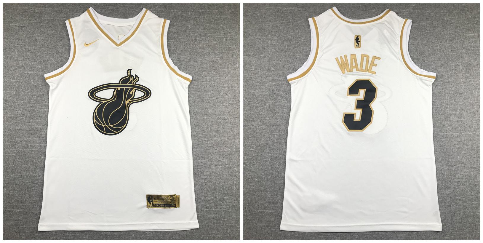 Heat 3 Dwyane Wade White Gold Nike Swingman Jersey