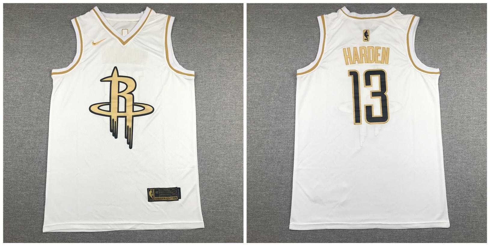 Rockets 13 James Harden White Gold Swingman Jersey