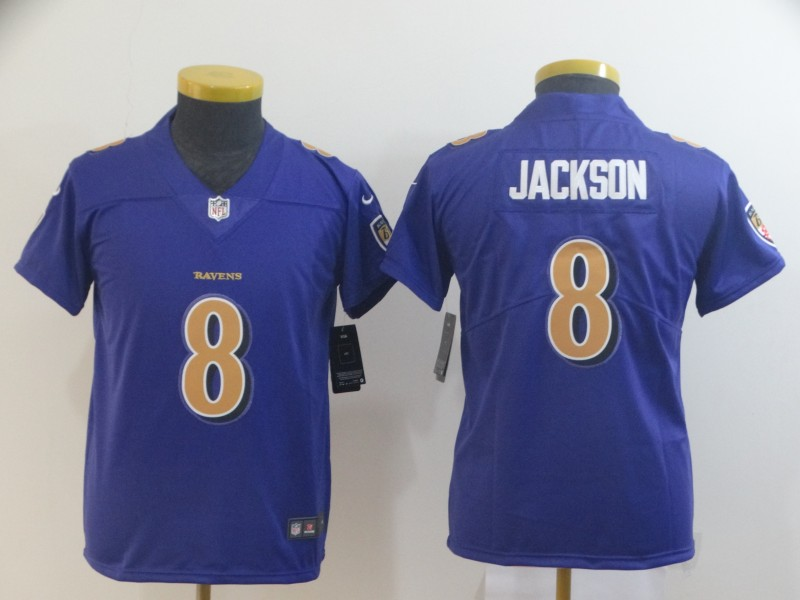 Nike Ravens 8 Lamar Jackson Purple Youth Color Rush Limited Jersey