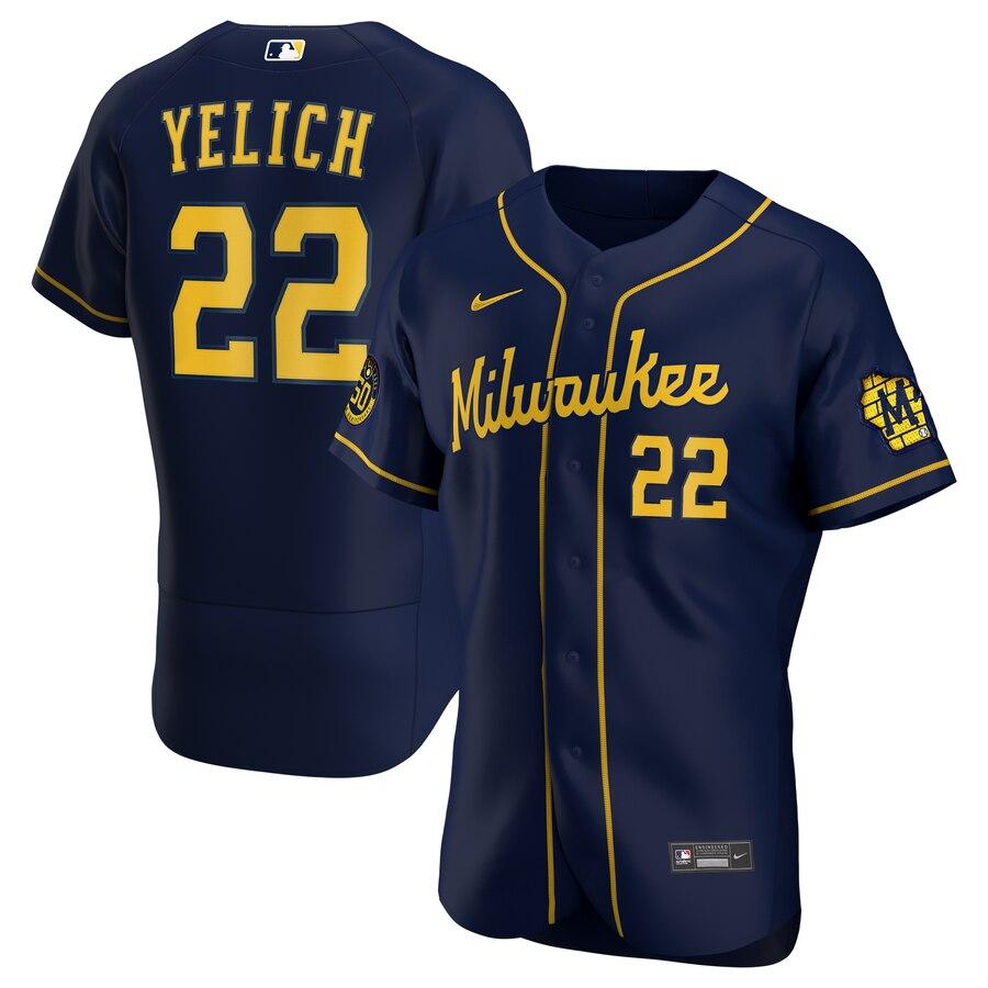 Brewers 22 Christian Yelich Navy Nike 2020 Flexbase Jersey