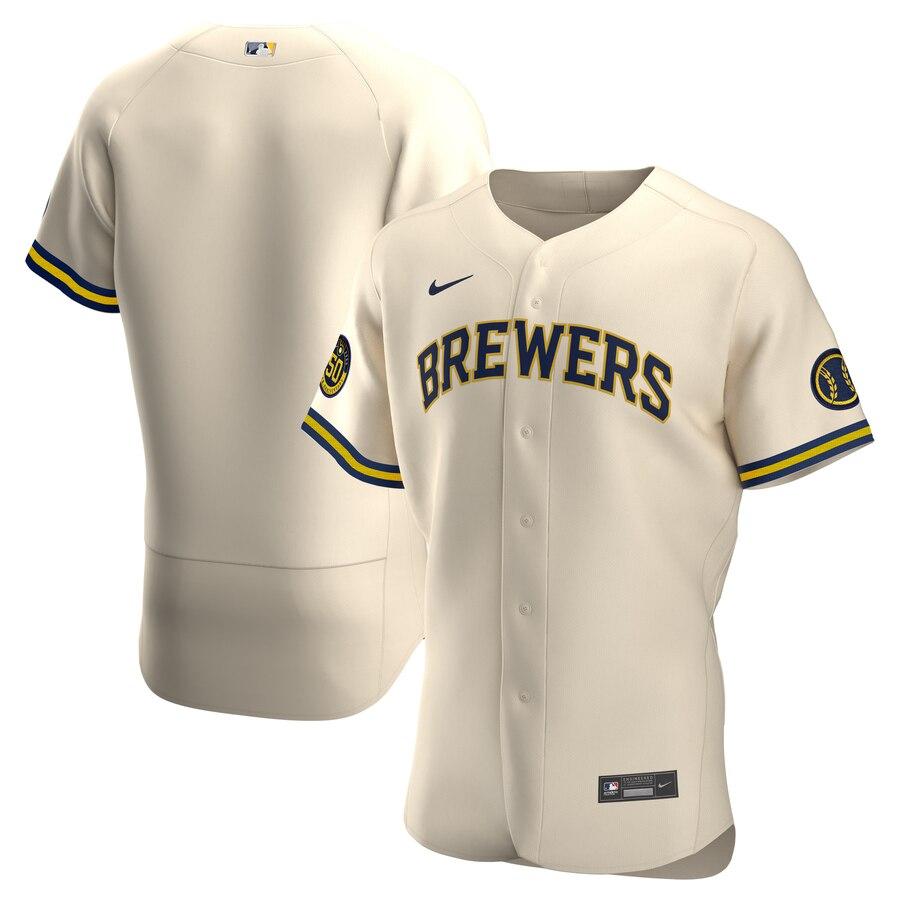Brewers Blank Cream Nike 2020 Flexbase Jersey