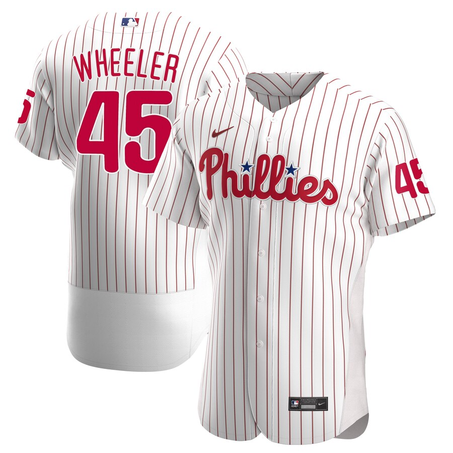 Phillies 45 Zack Wheeler White Nike 2020 Flexbase Jersey