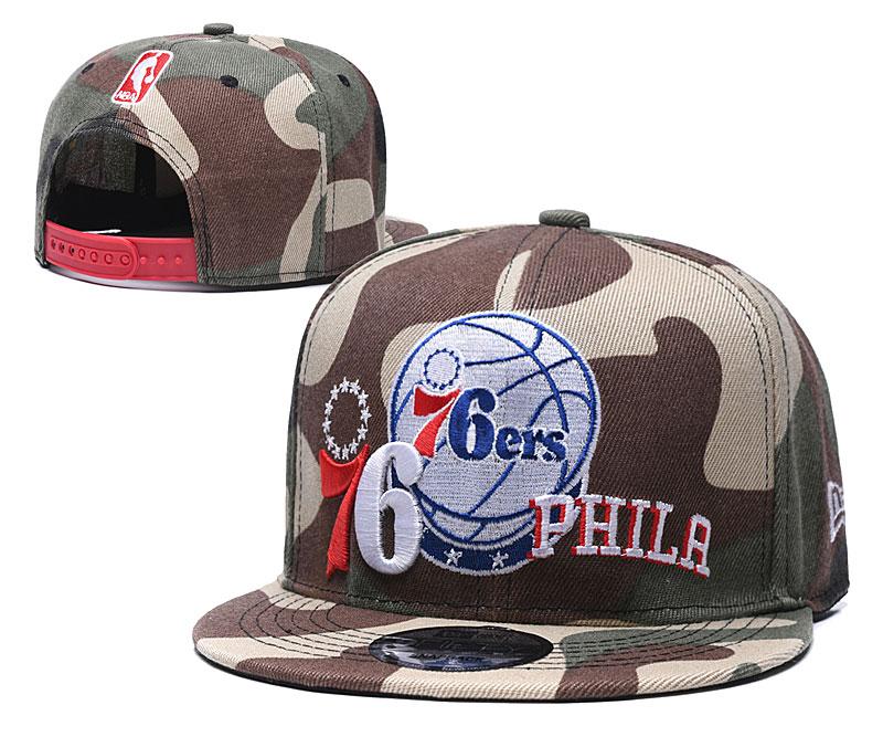 76ers Team Logo Camo Adjustable Hat LH