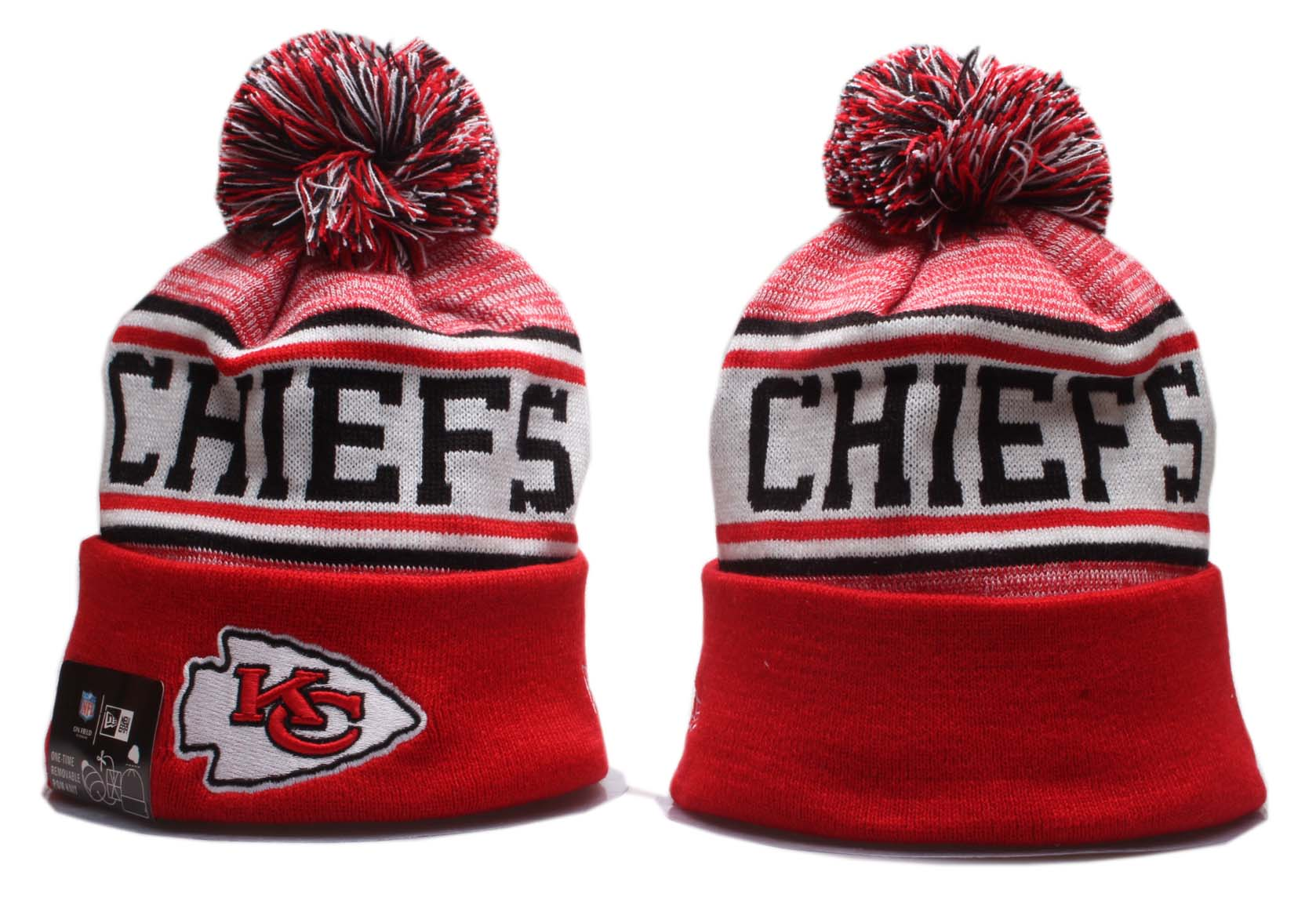 Chiefs Team Logo Red Wordmark Cuffed Pom Knit Hat YP