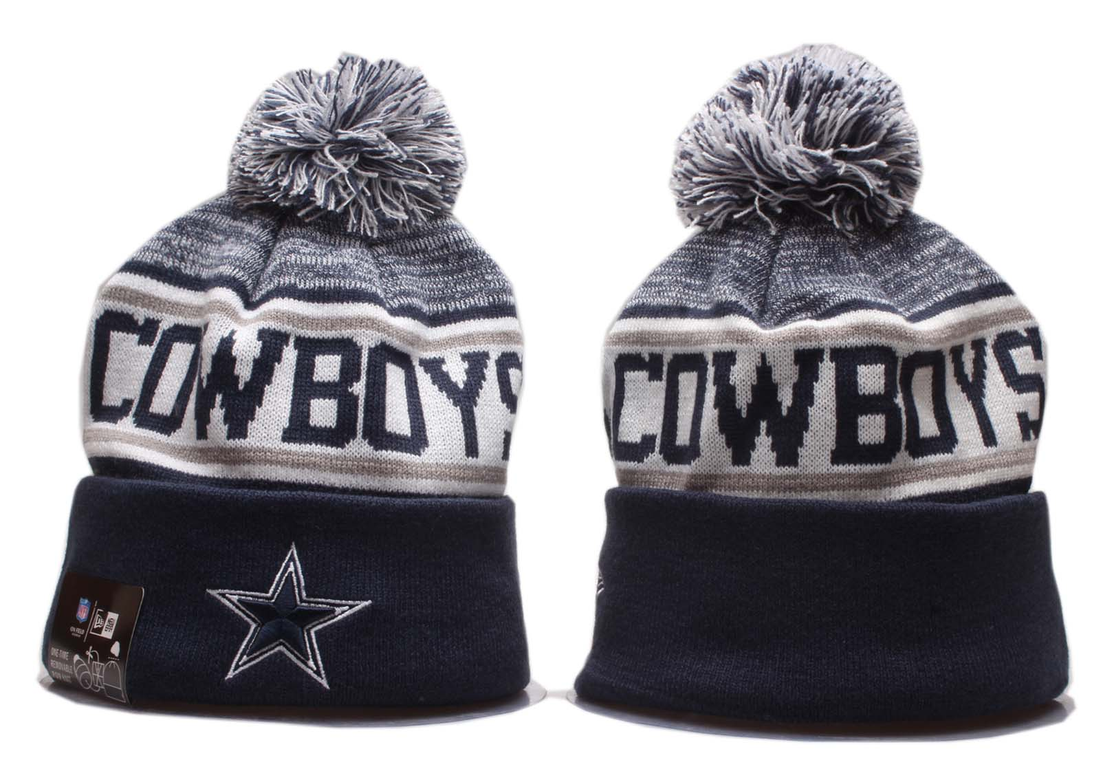 Cowboys Team Logo Navy Gray Wordmark Cuffed Pom Knit Hat YP