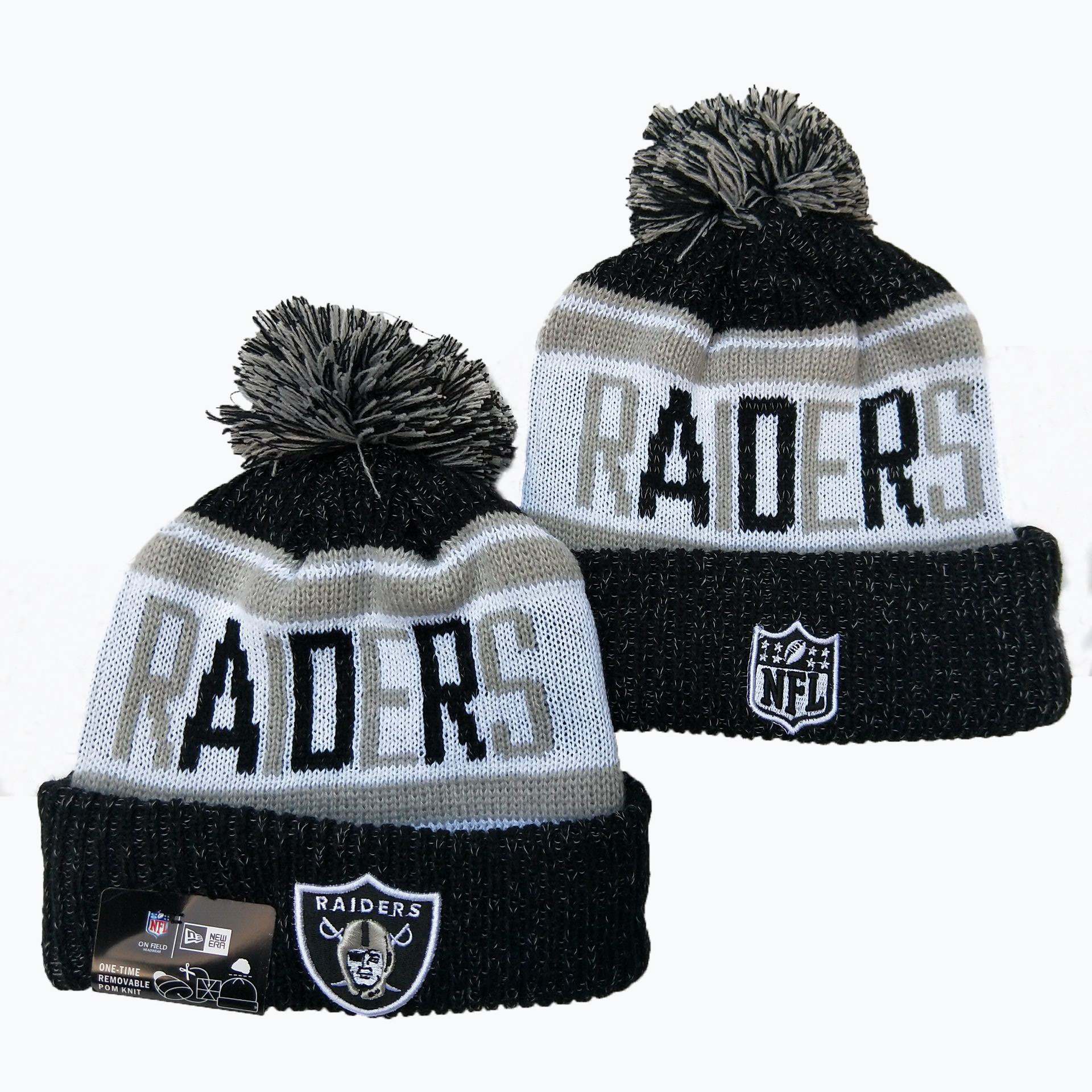 Raiders Team Logo Black Pom Knit Hat YD