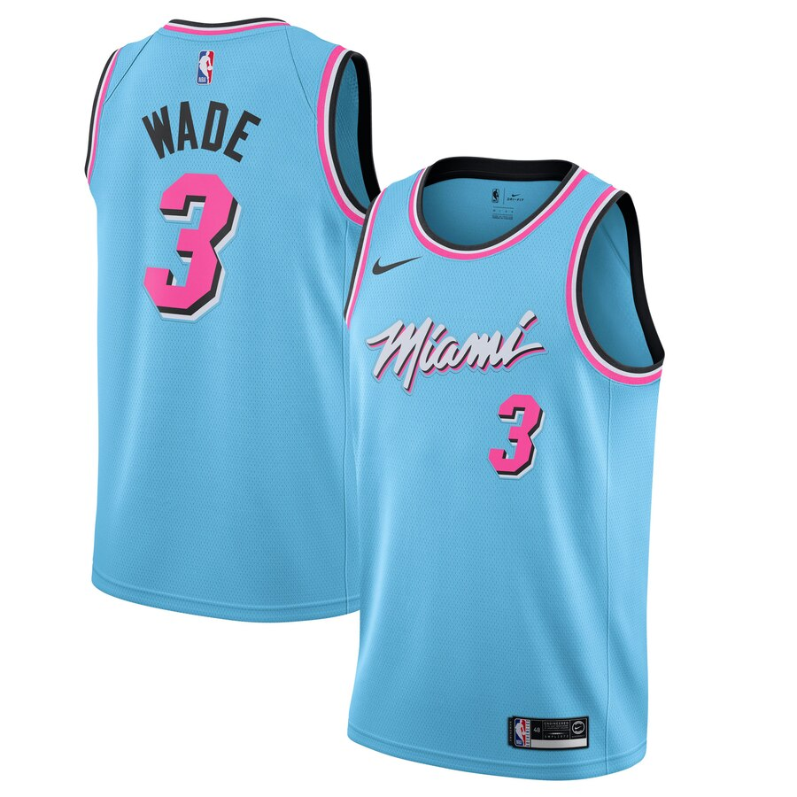 Heat 3 Dwyane Wade Blue 2019-20 Nike City Edition Swingman Jersey
