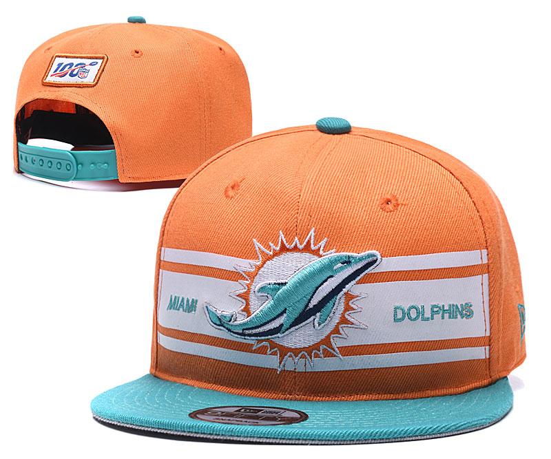 Dolphins Team Logo Orange 100th Seanson Adjustable Hat YD