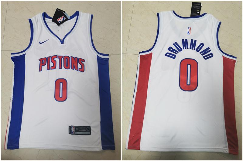 Pistons 0 Andre Drummond White Nike Swingman Jersey