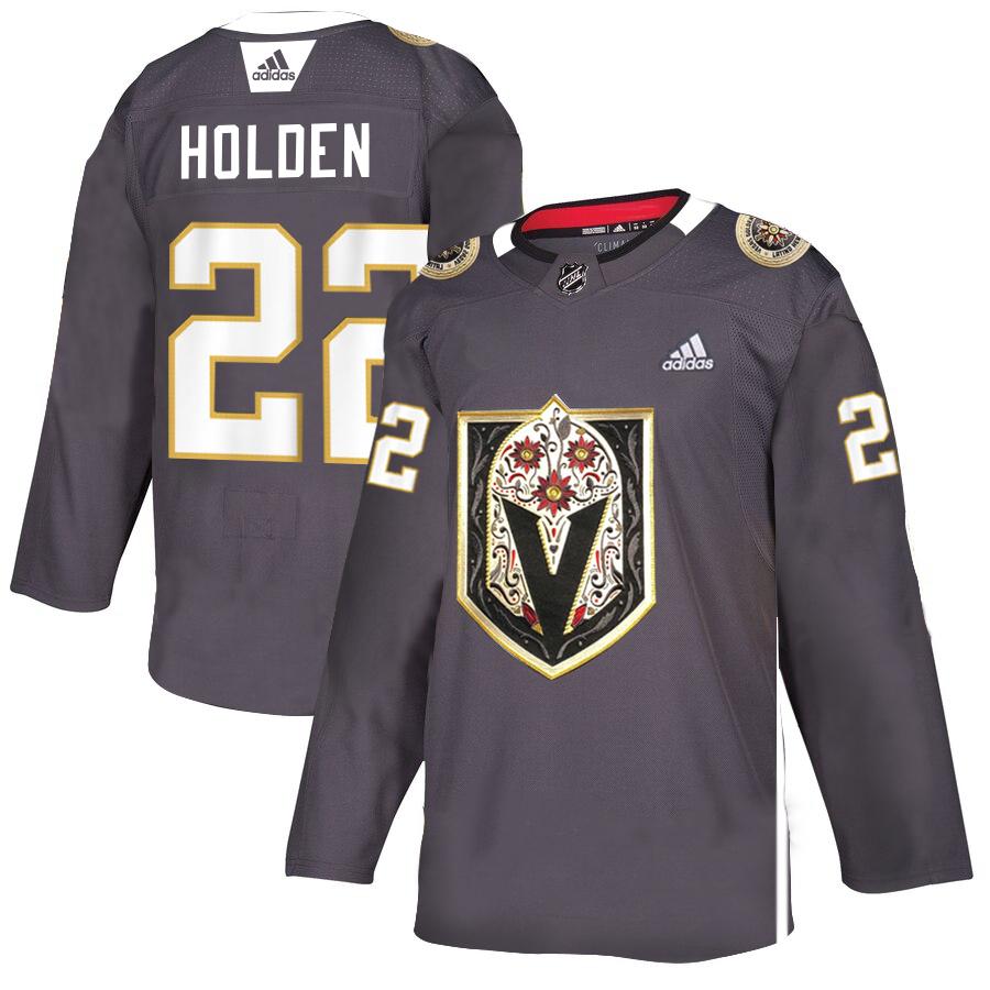 Vegas Golden Knights 22 Nick Holden Gray Dia De Los Muertos Adidas Jersey