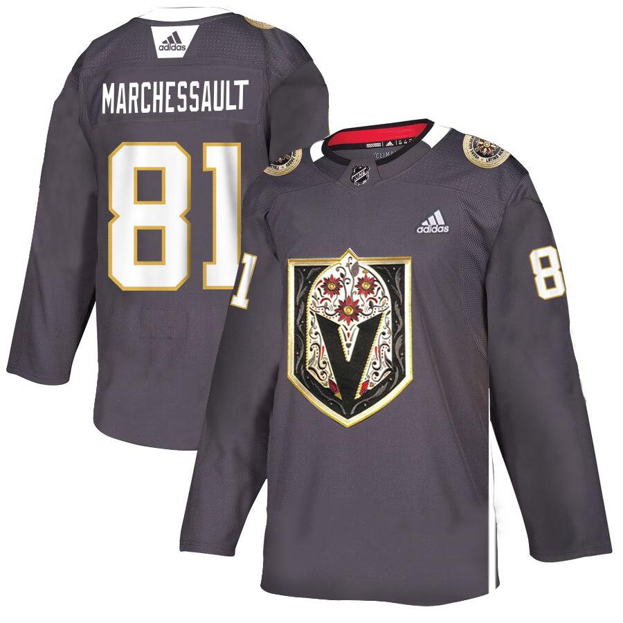 Vegas Golden Knights 81 Jonathan Marchessault Gray Dia De Los Muertos Adidas Jersey