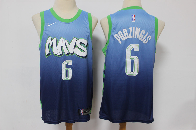 Mavericks 6 Kristaps Porzingis Blue 2019-20 City Edition Nike Swingman Jersey