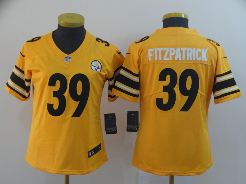Nike Steelers 39 Minkah Fitzpatrick Yellow Women Inverted Legend Limited Jersey