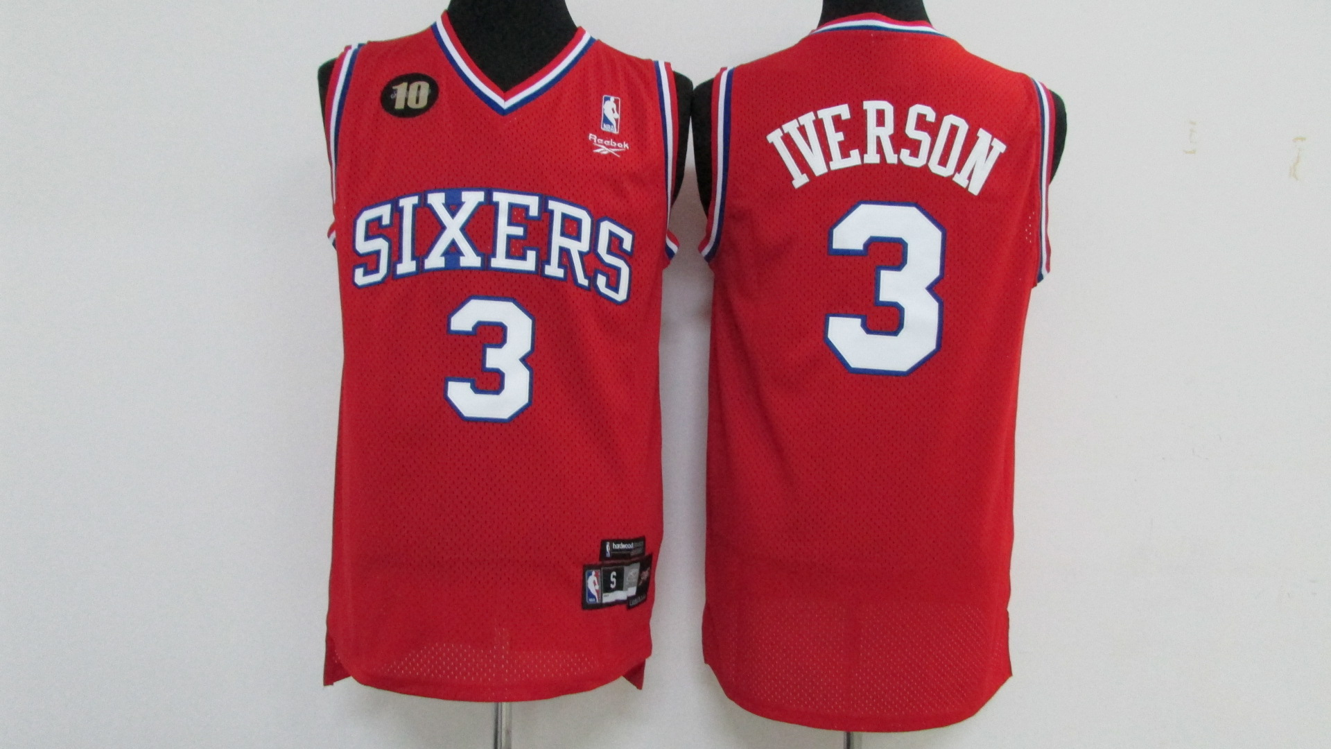 76ers 3 Allen Iverson Red 10th Anniversary Swingman Jersey