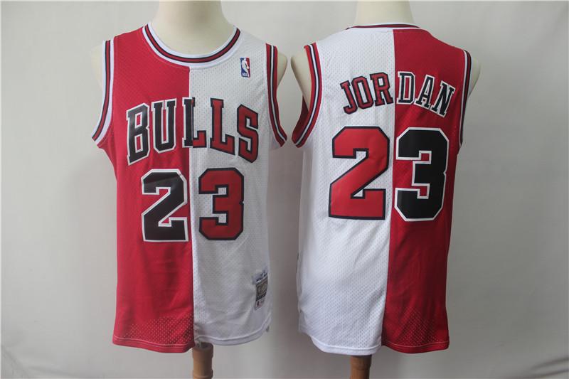 Bulls 23 Jordan Red&White Split Hardwood Classics Jersey