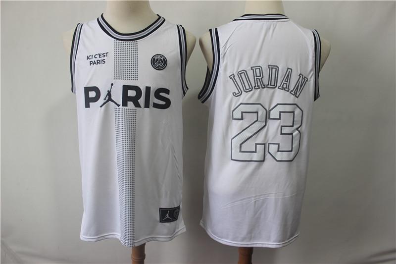 Paris Saint Germain 23 Michael Jordan White Fashion Jersey