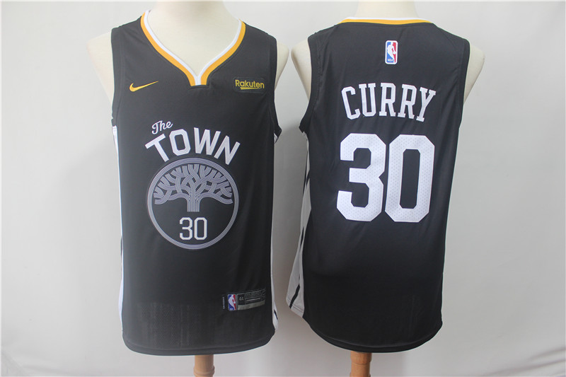 Warriors 30 Stephen Curry Black 2018 19 Earned Edition Nike Swingman Jersey
