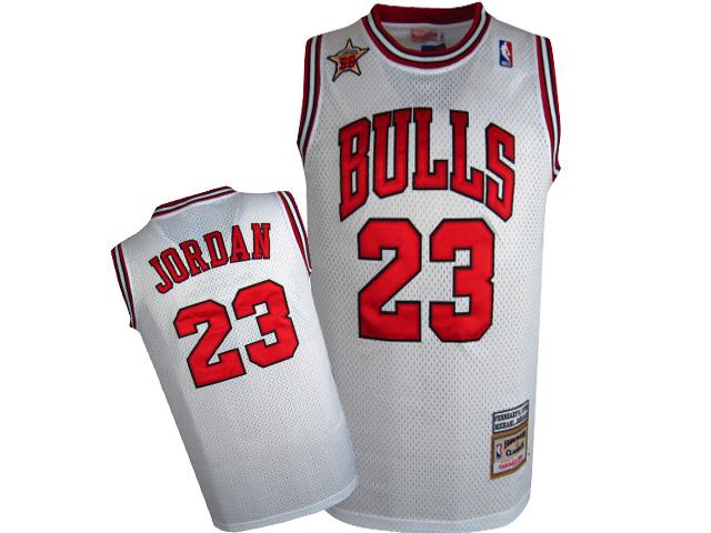 Bulls 23 Michael Jordan White Mesh Hardwood Classics Jersey