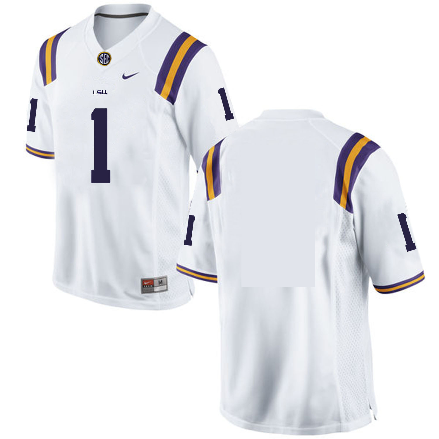 LSU Tigers #1 White Nike College Football Jersey