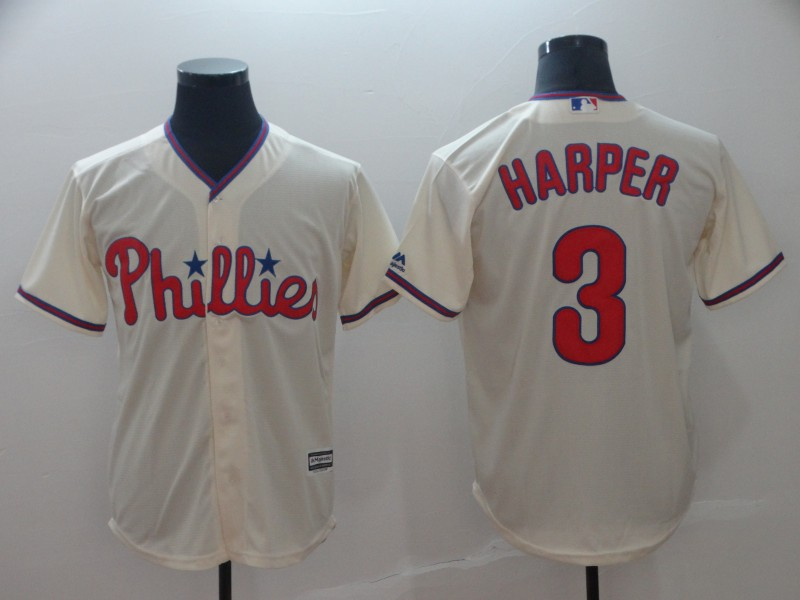 Phillies 3 Bryce Harper Cream Cool Base Jersey