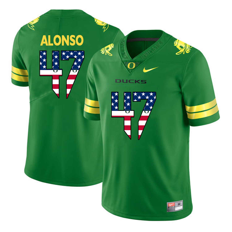 Oregon Ducks 47 Kiko Alonso Apple Green USA Flag College Football Jersey