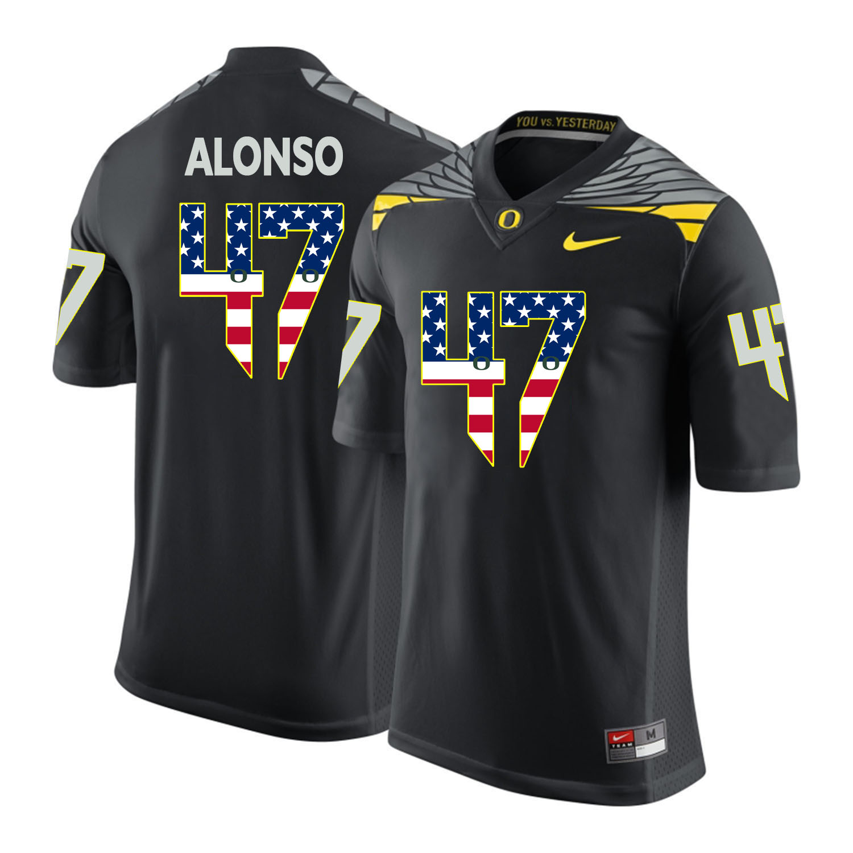 Oregon Ducks 47 Kiko Alonso Black USA Flag College Football Jersey