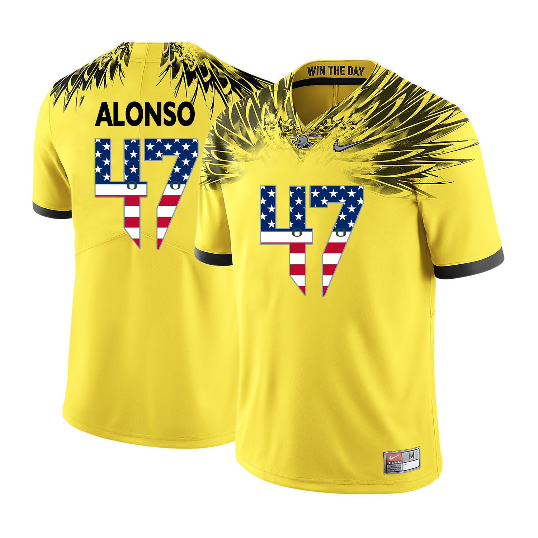 Oregon Ducks 47 Kiko Alonso Yellow USA Flag College Football Jersey