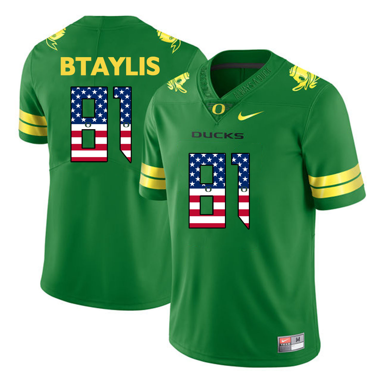 Oregon Ducks 81 Evan Baylis Apple Green USA Flag College Football Jersey