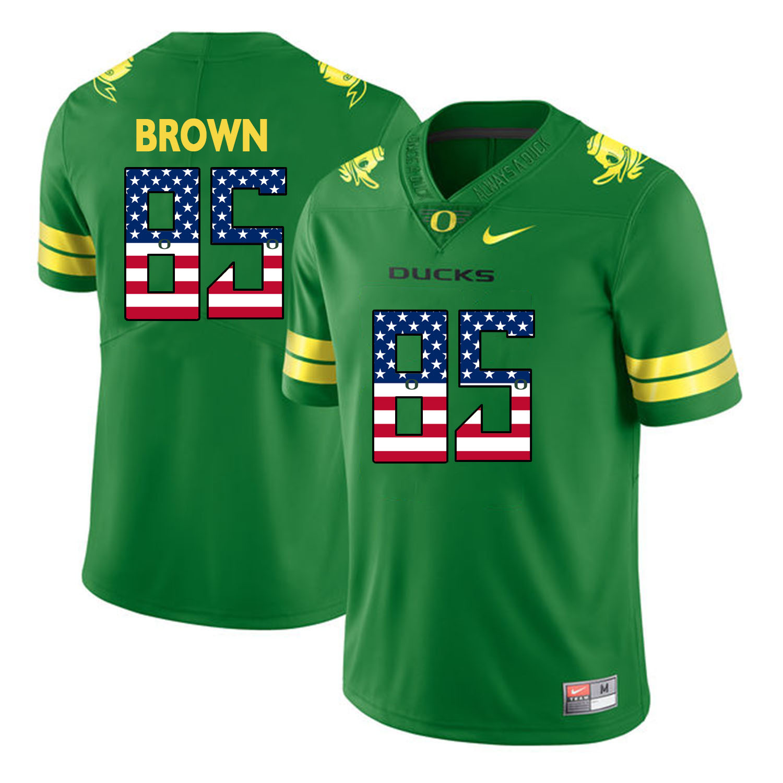 Oregon Ducks 85 Pharaoh Brown Apple Green USA Flag College Football Jersey