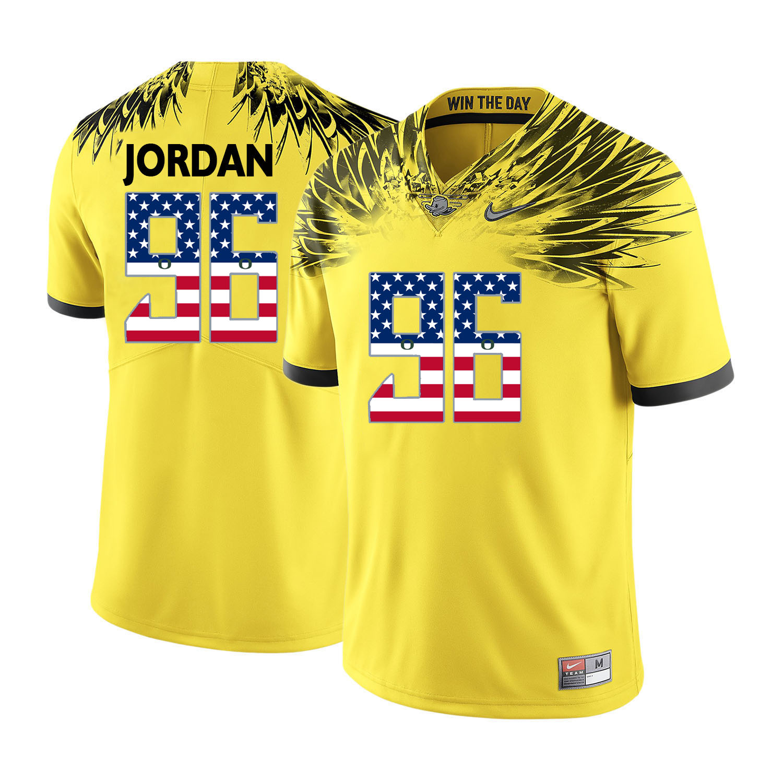 Oregon Ducks 96 Dion Jordan Yellow USA Flag College Football Jersey