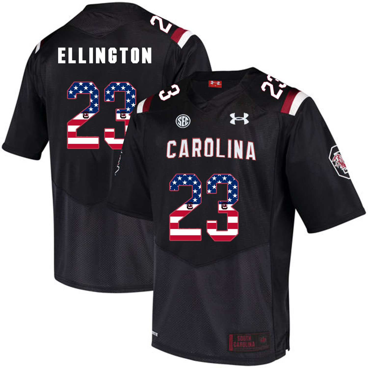 South Carolina Gamecocks 23 Bruce Ellington Black USA Flag College Football Jersey