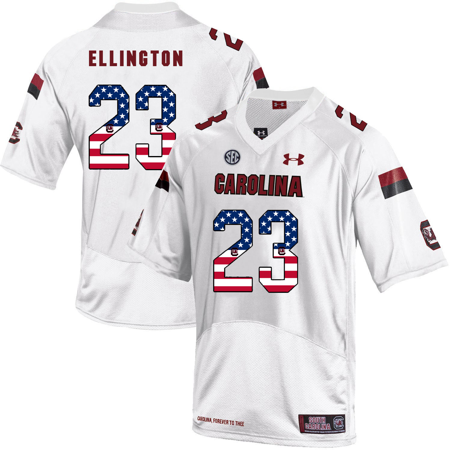 South Carolina Gamecocks 23 Bruce Ellington White USA Flag College Football Jersey
